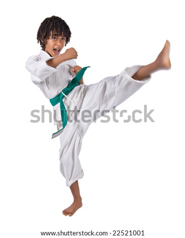 african american boy in karate suit training - stock photo