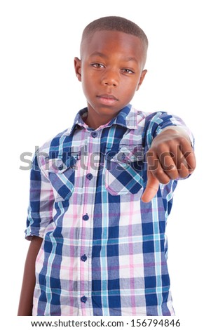 African American boy making thumbs down, isolated on white background - Black people - stock photo