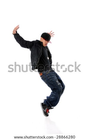 African American breakdancer performing isolated over white background - stock photo