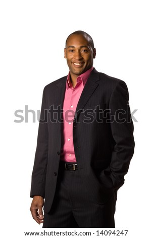 African American Business man casual disposition smile on face.  On-white.