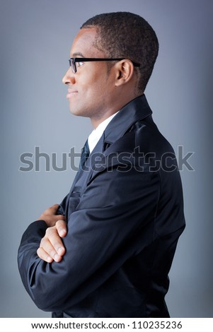 African american business man from profile - stock photo
