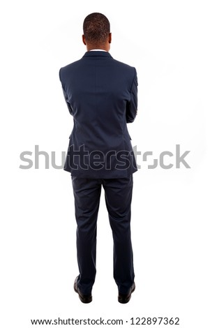 African American business man from the back over white background - stock photo