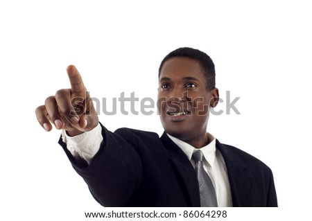 African American Business Man touching the left side of the imaginary screen isolated white background - stock photo
