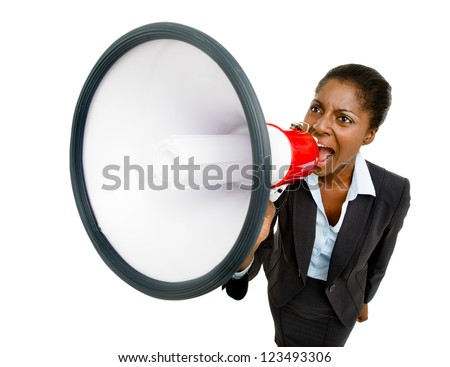 African American business woman holding megaphone isolated on wh - stock photo