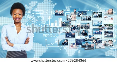 African american business woman over blue background - stock photo