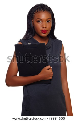 African American business woman stands with folder in her hands ready for executive presentation over white background