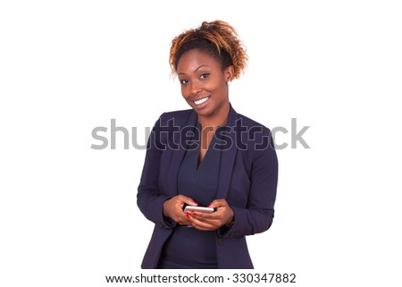African American business woman using a smartphone