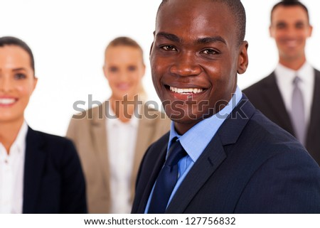 african american businessman and colleagues - stock photo