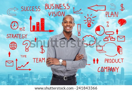 African-American Businessman over business scheme background - stock photo