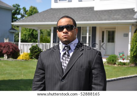 African American Businessman Real Estate Property - stock photo