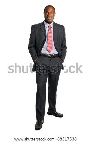 African American businessman standing isolated over white background - stock photo