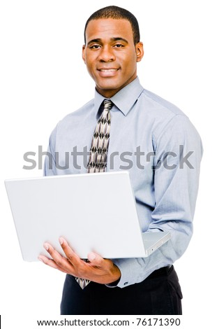 African American businessman using a laptop and posing isolated over white