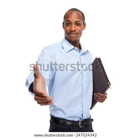 African-American businessman with a handshake. Business meeting