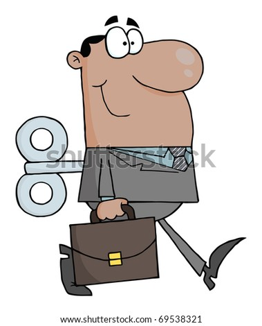 African American Businessman With Wind-up Key In His Back - stock photo