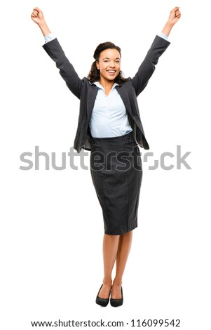 African American businesswoman celebrating success isolated on white background - stock photo