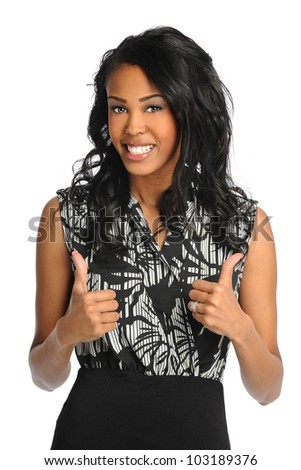 African American businesswoman showing the thumbs up isolated over white background - stock photo