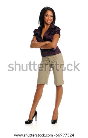 African American businesswoman smiling isolated over white background - stock photo