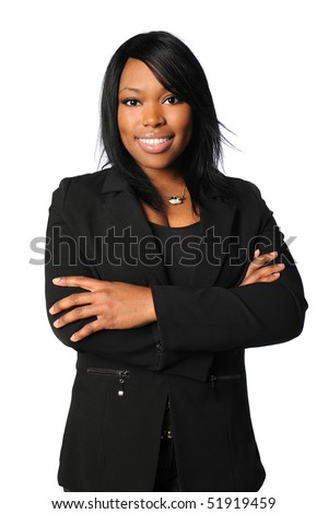 African American businesswoman with arms crossed isolated over white background - stock photo