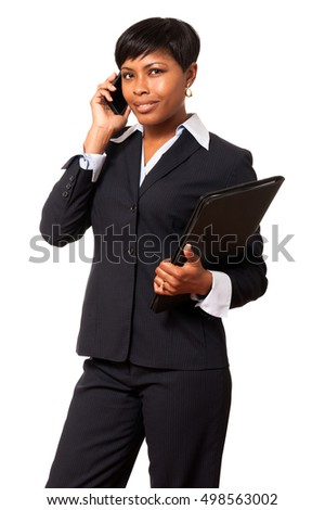 African American Businesswoman with mobile phone on White