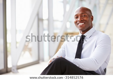 African American corporate businessman, horizontal portrait - stock photo