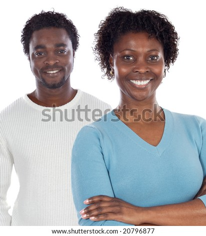 African american couple  a over white background