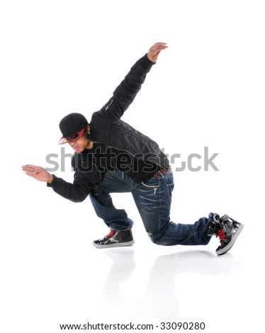 African American dancer performing breakdancing isolated over white - stock photo
