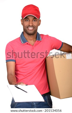 African american delivery man carrying parcel and presenting receiving form - stock photo