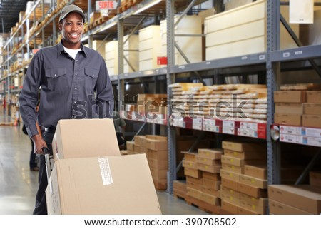 African-american delivery postman. - stock photo