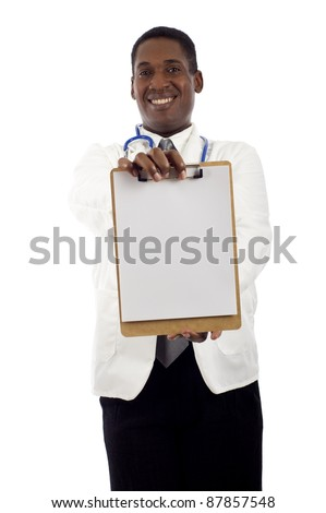 African American doctor holding a clipboard isolated over white background - stock photo