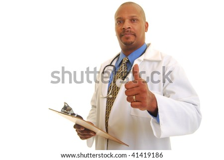 African American doctor holding clip board isolated on white. - stock photo