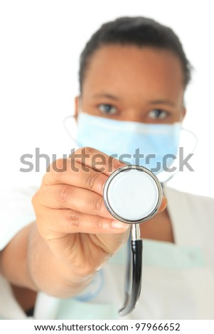 African American doctor nurse black book and stethoscope isolated metisse - stock photo