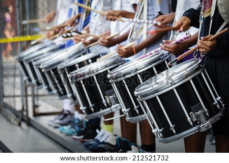 African American drum line - stock photo