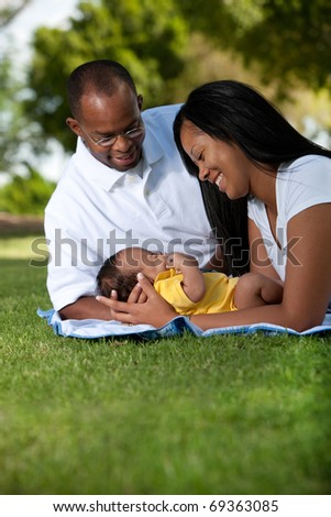 African American Family In The Park