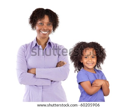 African-American family isolated on white background - stock photo