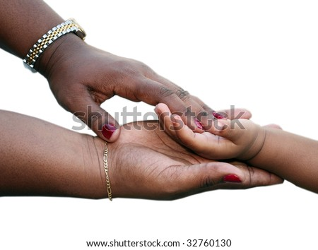 African-American family: Mother is holding child hand - stock photo