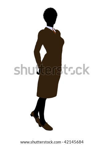 African american female business executive silhouette on a white background