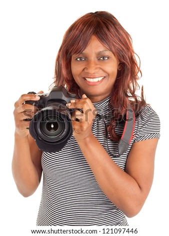 African American Female Photographer Shooting You - stock photo