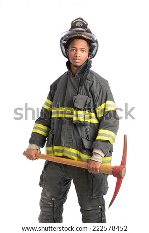 African American  firefighter standing portrait isolated on white background - stock photo