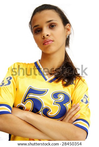 African american football player girl with attitude look - isolated on white.