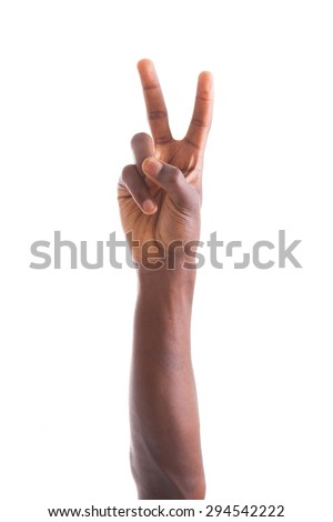 African american hand making peace  gesture - Black people - stock photo