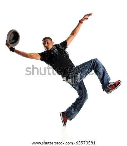 African American hip hop dancer performing with hat isolated over white background - stock photo
