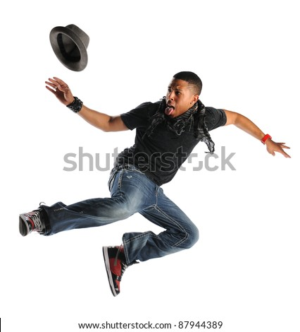 African American hip hop man dancing isolated over white background - stock photo