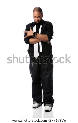 African American hip hop man gesturing isolated over white