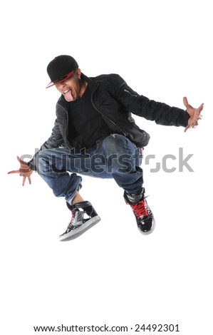 African American hip hop man jumping - stock photo