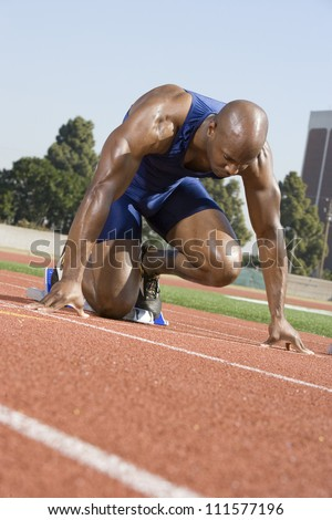 African American Male Runner Beginning Race Stock Photo ...