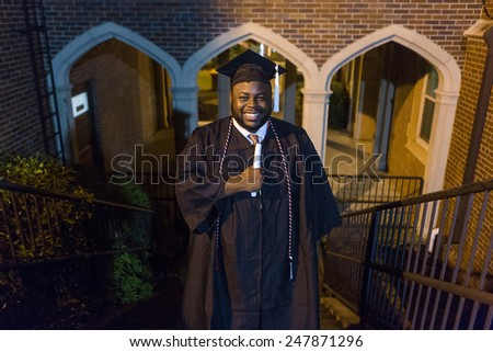 African american male graduate - stock photo