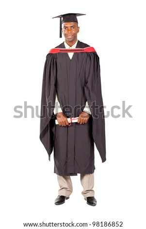 african american male graduate full length on white background - stock photo