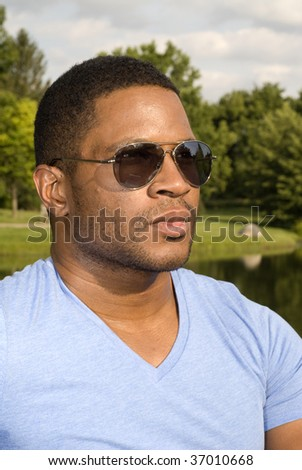 African American Male with Sunglasses - stock photo