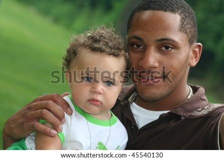 African American Man and Toddler - stock photo