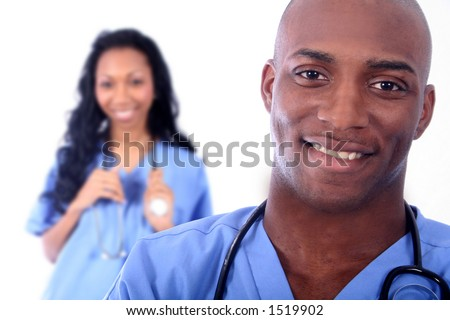 African American Man and Woman Medical Workers - stock photo